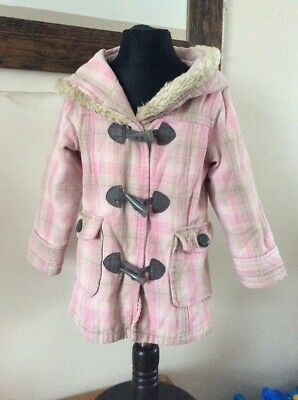 Girls Coat By Pumpkin Patch Pink Checked With Hood 4 Years Used