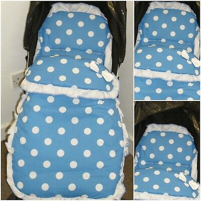 Universal Footmuff/Cosytoes Blue With White Polka Dots White Frill Bow New
