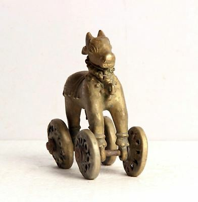 1850S Indian Antique Hand Carved Holy Cow Nandi On Wheels Figurine-5331