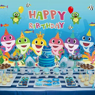 Baby Shark Backdrop Photo Photography Background for Kids Birthday Party Decor