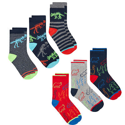 Boys Cotton Rich Ankle Socks (6 12 Pairs Multipack) Space Dinosaur Trainer Liner
