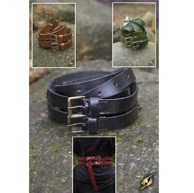 Medieval Twin Leather Belt with Knotch Design for Theatre & Costume or LARP