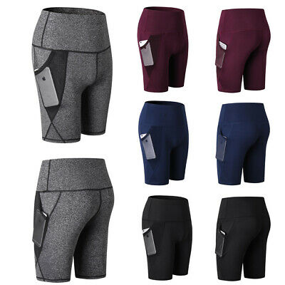 Women's Running Jogging Training Yoga Shorts Tight Gym Sports pants with Pockets