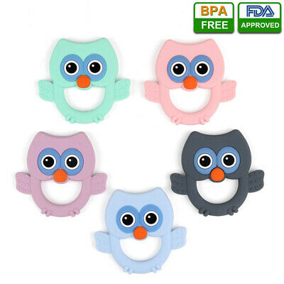 Infant Baby Teether Food Grade Silicone Pacifier Teething Chewable Owl Toy