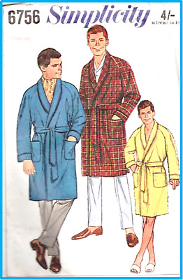 1960 Vintage Simplicity Sewing Pattern Mens Dressing Gown, Robe , S to XL Sizes