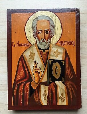 Vintage Retro Wooden Hand Painted Russian Orthodox Christian Icon Saint Nikolay