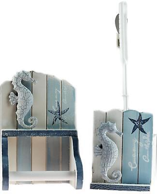 Nautical 2 Piece Bathroom Seahorse Loo Roll Holder And Toilet Brush With Stand