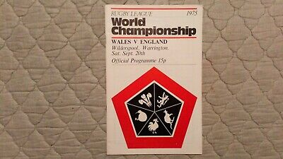 Wales V England Rugby League World Cup Match Programme 20/09/1975
