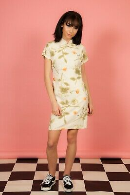 Vintage cream and floral print  cheongsam oriental style dress