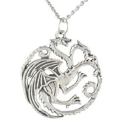 New GAME of THRONES Necklace Three Headed Dragon Targaryen Sigil Pendant Charm