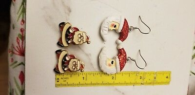 Lot Of 2 Pairs Christmas santa Earrings double sided jacket and moon drop Used
