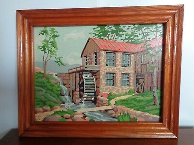 Vintage 1950's Paint-By-Number Country Mill with Water Wheel in Oak Frame 12x16