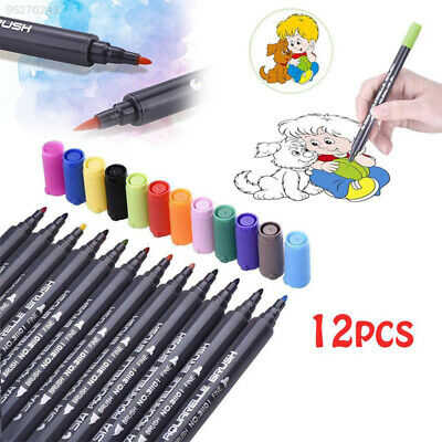 F4FF 12 Color Watercolor Art Dual Tip Pen Coloring Book Painting High Quality