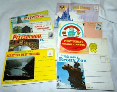 8 Older Postcard Fold Out Books Disney Pennsylvania New Jersey Bronx Zoo