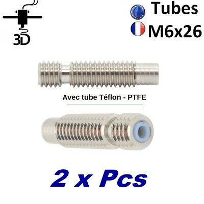 2 x Tube M6 x 26mm Heat Break 1.75mm PTFE Extrudeur V5,V6 Imprimante 3D Printer