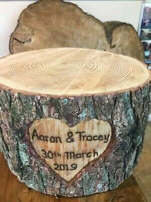 Tall hand carved heart Rustic log wedding cake stand Optional personalised text