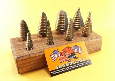 Drill Hog® Step Drill Bit Set Step Bit M7 UNIBIT Drill Stand Lifetime Warranty