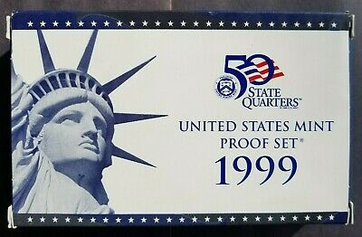 Uncirculated 1999 S United States Mint Proof Coin Set With COA