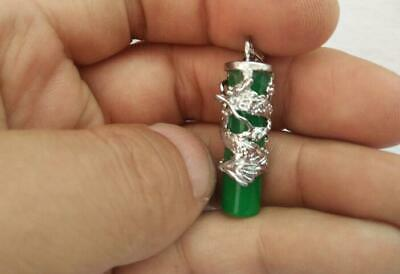 Chinese Exquisite Malay Jade Pendant Green Dragon Lucky Men and Women Pendant