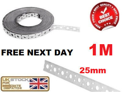 FIXING BAND STEEL METAL PUNCHED PERFORATED STRIP STRAP 1 x 25 x 1mm