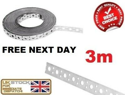 FIXING BAND STEEL METAL PUNCHED PERFORATED STRIP STRAP 3M x 25 x 1mm