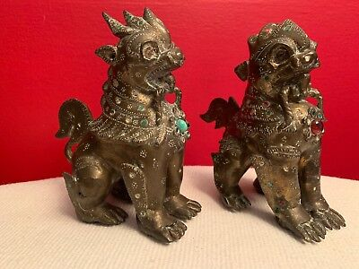 PAIR VINTAGE ASIAN CHINESE BRASS BRONZE FOO DOGS JEWELED TEMPLE LIONS w/ STONES
