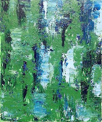 Summer Blues and Greens - textured paint on canvas, original abstract. Striking