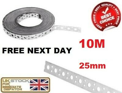 Engineers Fixing Band Steel Metal Punched Perforated Strip Strap 10m x 25 x 1mm