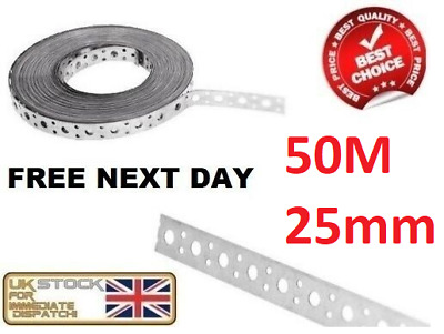 Engineers Fixing Band Steel Metal Punched Perforated Strip Strap 50M x 25x1.00mm