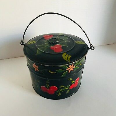 PA Tin Paint Decorated Toleware Covered Bowl Cherries Tole Canister Pail 19th c