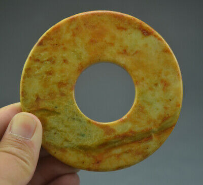 Excellent Chinese Ancient Jade Carving Smooth Round BI For Ceremony 3.42""