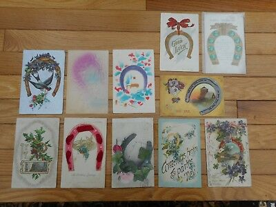 Lot of 12 Vintage Christmas New Years Postcards Early 1900's Antique