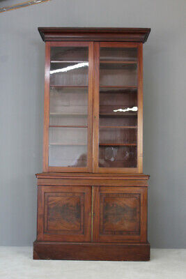 Antique Victorian Mahogany Glazed Bookcase Cupboard Cabinet