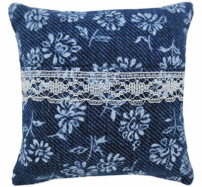 Tooth Fairy Pillow, navy blue, floral print fabric, white lace trim for girls