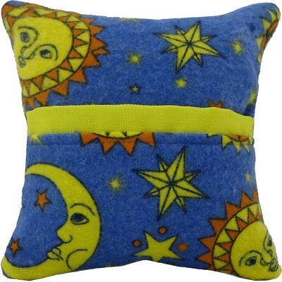 Tooth Fairy Pillow, blue, solar print fabric, yellow bias tape trim for kids