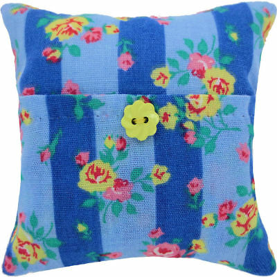 Tooth Fairy Pillow, blue, rose print fabric, yellow flower button trim for girls
