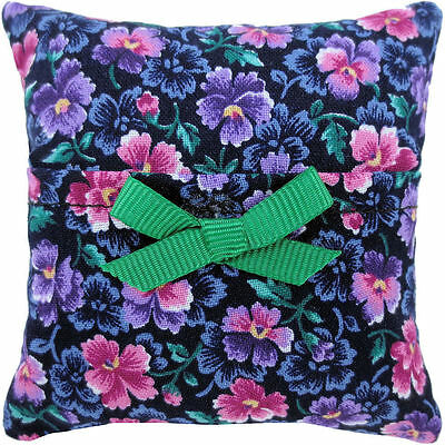 Tooth Fairy Pillow, black, floral print fabric, green ribbon bow trim for girls