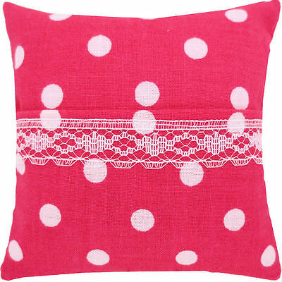 Tooth Fairy Pillow, pink, polka dot print fabric, white lace trim for girls