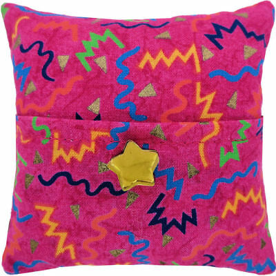 Tooth Fairy Pillow, pink, zig zag print fabric, gold star button trim for girls
