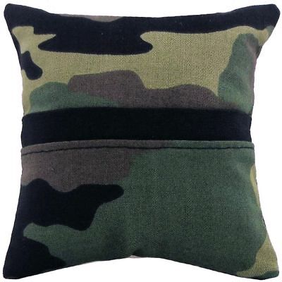 Tooth Fairy Pillow, green, black, brown camouflage print fabric, black bias tape