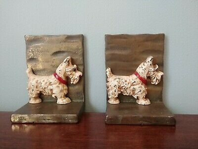 Vintage Pair Of West Highland White Terrier Dog Westie Cast Iron Bookends Heavy