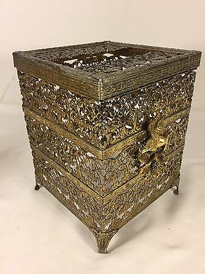 3pc Ormolu Hollywood Regency Style Filigree Kleenex Tissue Box Holder - Perfumes