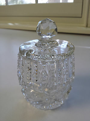 Beautiful Vintage Crystal Jam Condiment Jar With Lid