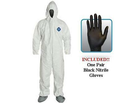 DuPont TY122S Disposable Tyvek Coverall, Hood, Boots With Gloves - Choose Size