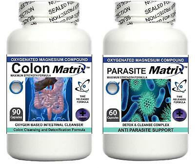 Colon Parasite Matrix Oxy Detox Bowel Cleanser Diet Powder Pills Weight Loss Aid