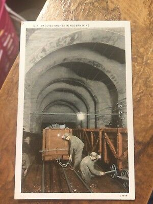 Vintage Postcard Vaulted Arches in Modern Mine  Un-posted