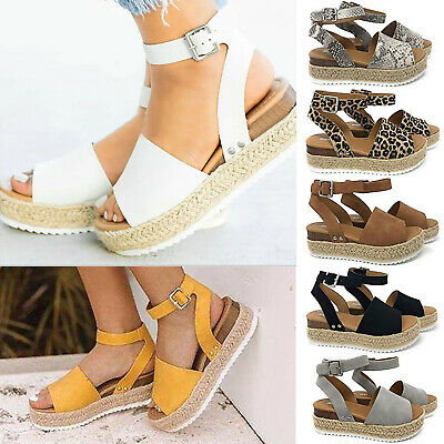 Women Summer Espadrilles Flat Platform Beach Ankle Thick Sole Buckle Sandal Shoe