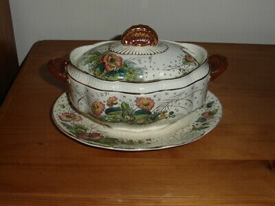 Antique Poppy Lidded Sauce Boat With Under Plate C1900.