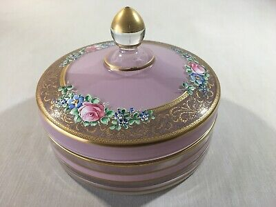 Antique Bohemian Glass Lidded Trinket Candy Dish Hand Painted Pink Floral