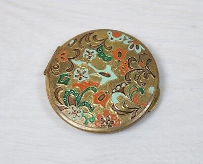 Vintage Collectible Brass Powder Compact Box Enamel Flowers Empty Shell Deco Art